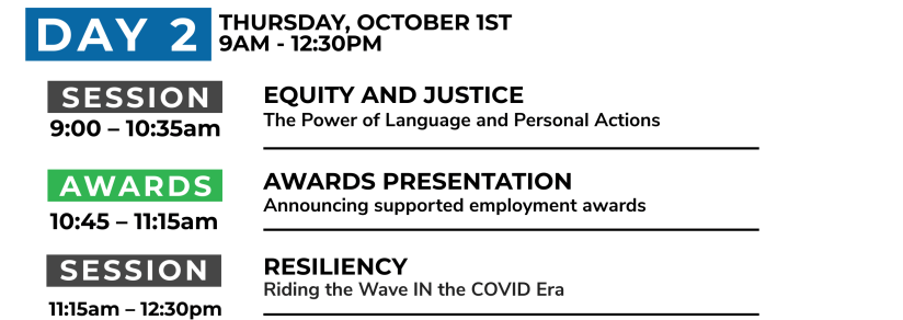 Day 2: Thursday, October 1st. 9AM - 12:30PM. Session 1: 9am: equity and justice